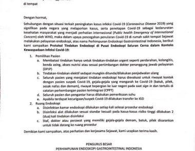 Protokol Tindakan Endoskopi di Pusat Endoskopi Saluran Cerna dalam Konteks Kewaspadaan Covid-19